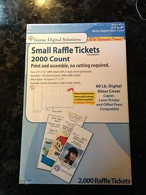 White Perforated Raffle Ticket Paper Linroe Digital Solutions 2000-Count 80-lb