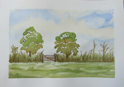 COUNTRY gate WATERCOLOUR australia BUSH trees HAND painted ART hobby PAINTS gree