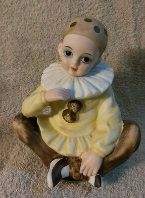 Vintage Pierrot Style Sad Clown Music Box Mann Japan Harlequin Porcelain