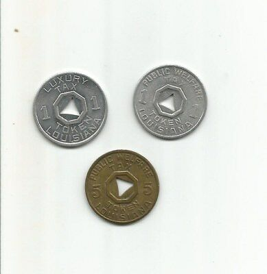 3 - 1930's Depression Era Louisiana 1 & 5 Mill Sales Tax Tokens