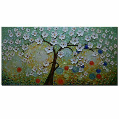 Asdam Art - 3D Large Abstract Tree Artwork Green Wall Art 3D Hand Painted Oil on