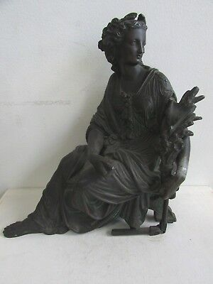 Antique Cast Bronze Statue Classic Roman Lady Seated Holding Wreath Sculpture