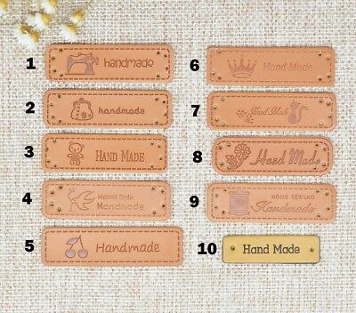 20Pcs PU Leather Label Handmade Craft Embossed Tag Embellishment Knit Sewing DIY