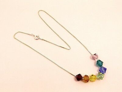 CHAKRA 925 Sterling Silver BOX Chain NECKLACE Made w/ SWAROVSKI Crystal Elements
