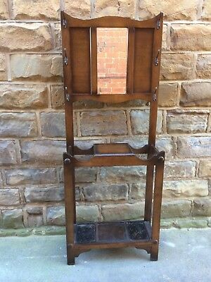 Lovely Vintage / Antique Arts And Crafts Hall Stand original Hooks & Drip Trays