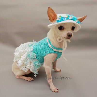 928844aa58a8 Crochet Lace Dress, Crochet Dog Hat, Teal Dog Dress, Chihuahua F105 Myknitt