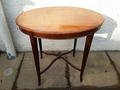 Edwardian Small Oval Table Solid Wood Occasional  Hall Side Table