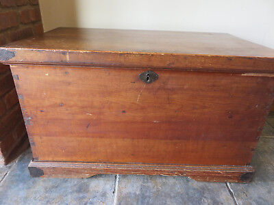 pine Blanket Box Chest Trunk with box & Metal Carry handles very old inner box