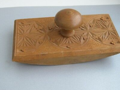 Swedish vintage wooden hand carved  desk ink  blotter