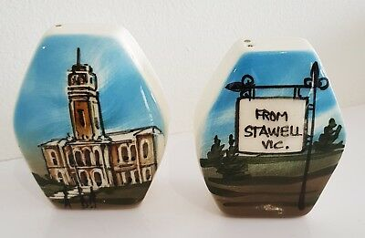 """Vintage Hand Painted Studio Anna Pottery Salt & Pepper Shakers. """"STAWELL VIC"""""""
