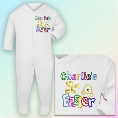 Name 1st Easter - Chick Embroidered Baby Sleepsuit Gift Personalised First