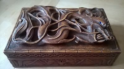 Antique chinese hand carved dragon box / casket very nice quality item