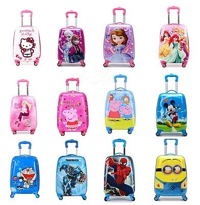"Disney 18"" kids Luggage Cabin Travel Suitcase Trolley Shell Hard 4 Wheels 1.7Kg"