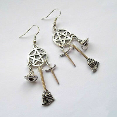 Wiccan Charm, Pagan, Witches Earrings, Sword, Witches Hat, Pentacle Drop Earring