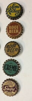 cork cap crowns 5 UNUSED west coast SODA can bottle acl label paper flat cone