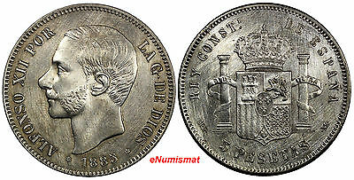 Spain Alfonso XII Silver 1885 (85) MS-M 5 Pesetas Weight: 25.0 g XF KM# 688