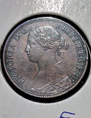 Great Britain Coin ... 1862 Farthing ... Fine Details