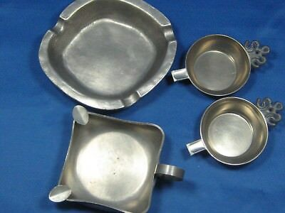 Lot 4 Antique German Embossed & Engraved Solid Pewter Ashtrays Beautiful Pieces