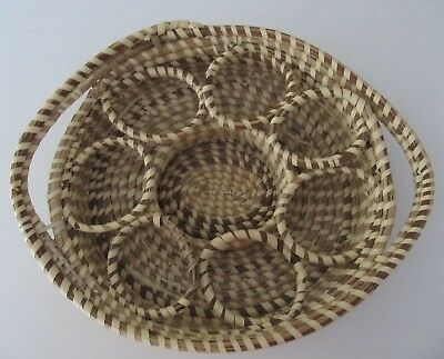 """SC Low Country Handmade Sweetgrass Basket 13.5"""" Beverage Sweet Grass AS IS Read"""
