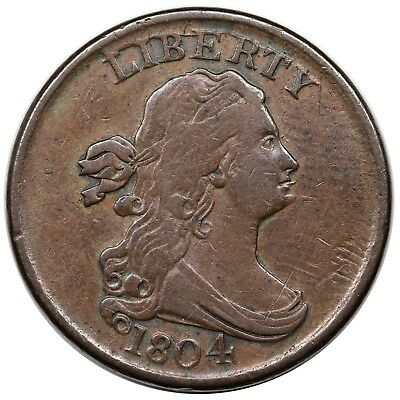 1804 Draped Bust Half Cent, Spiked Chin, C-8, M-LDS, VF detail