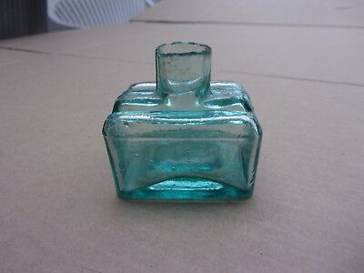 Antique Blue Hand Blown Ink Well With Pen Holder