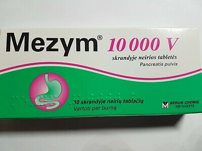 MEZYM 10000VIngigestion-Stomach Apset-Pain-Gas-Bloating Relief-10tablets