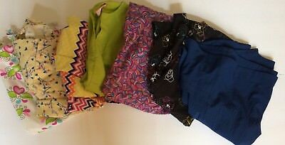 LOT OF Seven 7 Womens ASSORTED SCRUB TOPS Floral Chevron Solid S M