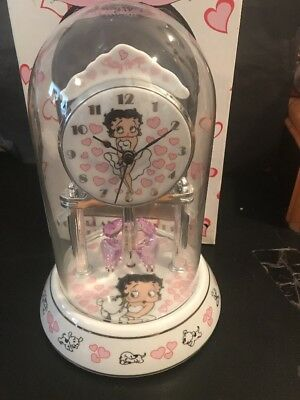 Betty Boop Porcelain Anniversary Collectible Clock W/ Red Hearts ❤️❤️ Orig Box!!