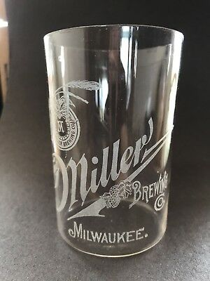 Fred Miller Brewing Co. Pre-Prohibition Etched Beer Glass