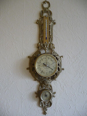Wetterstation, Thermometer, Barometer, Hygrometer Messing Top