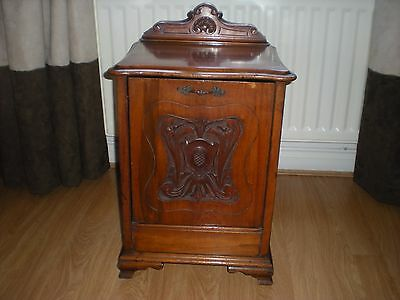 antique mahogany carved coal cabinet
