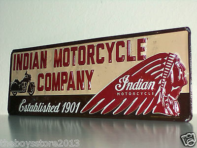 INDIAN MOTORCYCLE COMPANY Embossed Metal Sign Bike Chief Scout Chieftan USA 3D