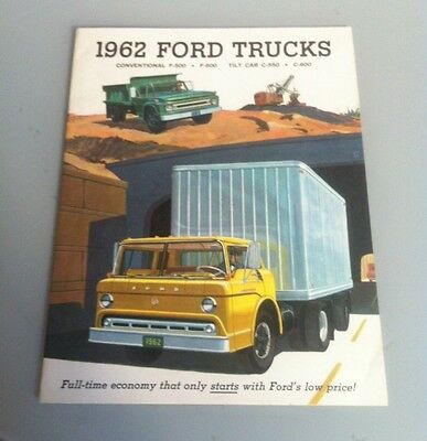 1962 62 FORD TRUCKS F-500 F-600 & C-550 C-600 Original Sales Brochure Near Mint