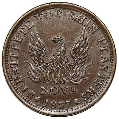 1837 Hard Times Token, Substitute For Shin Plasters, Low 47, HT-66, nice AU
