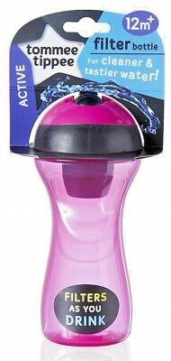 Tommee Tippee Active Filter Bottle TODDLER CUP PINK 12m+ FILTERS AS YOU DRINK