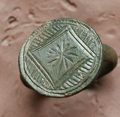 L6  Ancient Medieval Bronze Intaglio  Ring size D=22mm 7g  Quality