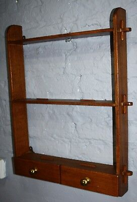 Good solid oak Arts and Crafts small spice kitchen plate rack
