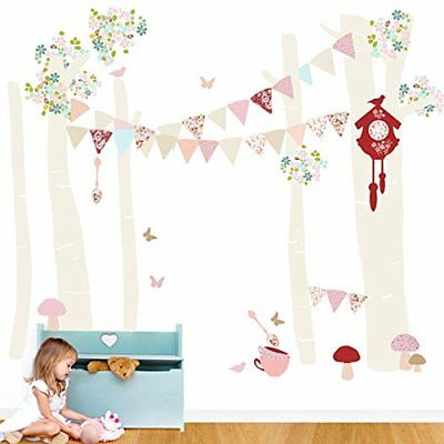 Oopsy Daisy Birch Tree Forest Vintage Girl Peel and Place, Neutral/Pastel/Pink,