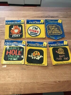 Blue Jeans Denim 70's Iron On Patches Boho Retro Lot of 6 blue jean patches