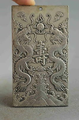 Collectable Handwork Decor Old Miao Silver Carve Dragon Exorcism Evil Pendant