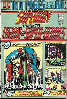 Superboy #202. May-Jun 1974. DC. Starring the Legion of Super-Heroes. FN-.