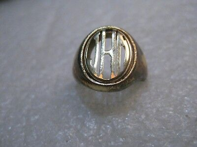 Vintage JHD Initial Signet Ring, Ladies, size 5, Rose Gold Filled - 1960's