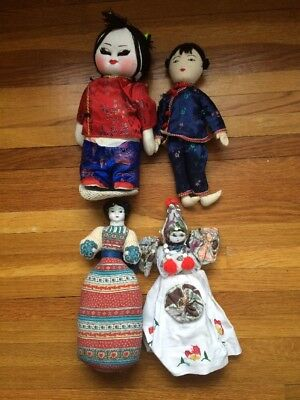Lot Vintage CHINESE Rag DOLLs Boy Girls. Vintage Paper Chinese Doll