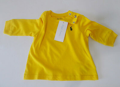 New POLO Ralph Lauren BABY Boy LONG SLEEVE T-SHIRT Embroidered PONY 6 - 24m Blue