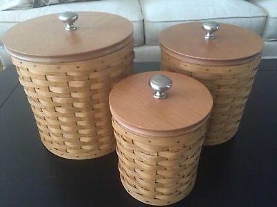 Longaberger Canister Set of 3 w/protectors and sealable lids