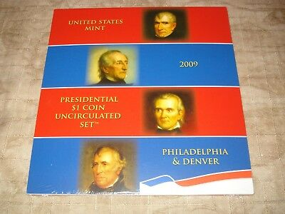 "Sealed 2009 Us Mint Presidential $1 Coin Uncirculated Set ""p"" & ""d"" Mint 8 Coins"