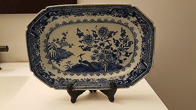 "Antique 18 C middle Qing Chinese export Blue & White porcelain platter 11"" birds"