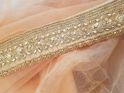 Peach Net Scarf with Shiny Golden Border