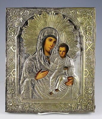 Antique 19Th Century Russian Icon Of The Tikhvin Mother Of God No Reserve