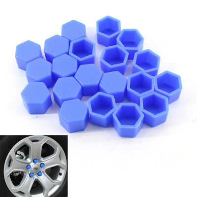 Blue 20PCS Car Wheel Nut Bolt Tire hud Screw Cover Cap Dust 19mm Fit For VW AUDI